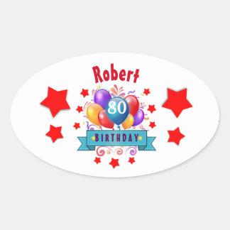 80.o Globos coloridos festivos C01HZ del Pegatina Ovalada