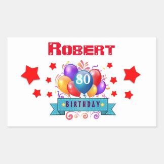 80.o Globos coloridos festivos C01HZ del Pegatina Rectangular