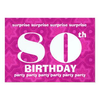 80.o Intrépido del cumpleaños de la SORPRESA y Invitación 12,7 X 17,8 Cm