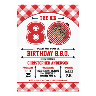 80 o Invitación de la barbacoa del cumpleaños