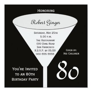 80.o Invitación de la fiesta de cumpleaños -- 80 Invitación 13,3 Cm X 13,3cm