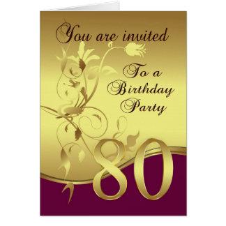 80.o Invitación de la fiesta de cumpleaños Tarjeta De Felicitación