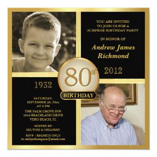 80.o Invitaciones del cumpleaños entonces y ahora Invitación 13,3 Cm X 13,3cm