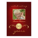 80.o Invitaciones del cumpleaños - rojo y Anuncios Personalizados