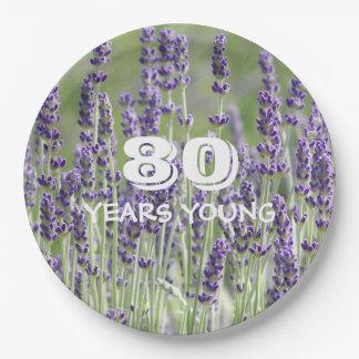 80.o Lavanda del cumpleaños floral Plato De Papel De 9 Pulgadas