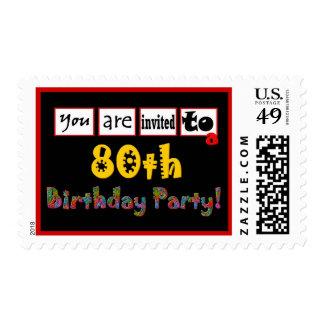 80.o Letras salvajes y coloridas del sello de la f