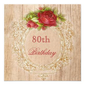 80.o marco de madera del rosa rojo del cumpleaños comunicados personales