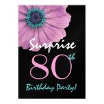 80.o Margarita rosada bonita del cumpleaños de la Invitación 12,7 X 17,8 Cm