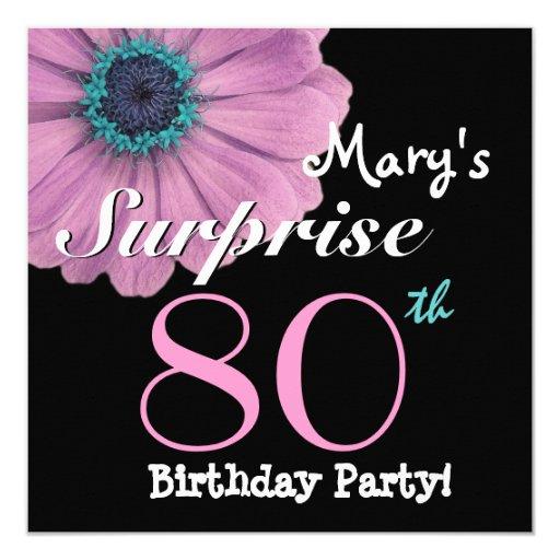 80.o Margarita rosada bonita R492 del cumpleaños Invitación 13,3 Cm X 13,3cm