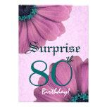 80.o Margaritas E003 del rosa del cumpleaños de la Invitación Personalizada