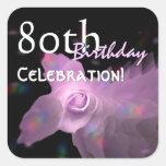 80.o Mariposa del baile del rosa de la fiesta de Calcomanías Cuadradas Personalizadas