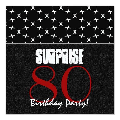 """80.o Modelo blanco negro rojo del cumpleaños de la Invitación 5.25"""" X 5.25"""""""