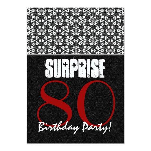 """80.o Modelo blanco negro rojo del cumpleaños de la Invitación 5"""" X 7"""""""