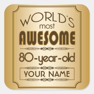 80.o mundo de la celebración del cumpleaños del pegatina cuadrada
