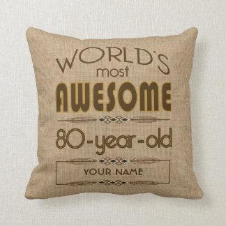 80.o Mundo de la celebración del cumpleaños mejor Cojín