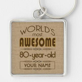 80.o Mundo de la celebración del cumpleaños mejor  Llaveros Personalizados