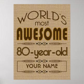 80.o Mundo de la celebración del cumpleaños mejor  Póster