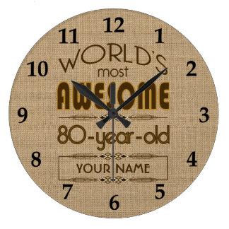 80.o Mundo de la celebración del cumpleaños mejor  Reloj Redondo Grande