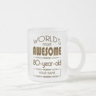 80.o Mundo de la celebración del cumpleaños mejor Taza De Café Esmerilada