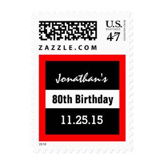 80.o Negro del cumpleaños con el personalizado Timbre Postal