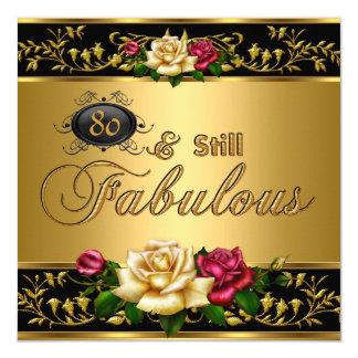 """80.o oro """"todavía fabuloso"""" de los rosas rojos del invitación 5.25"""" x 5.25"""""""