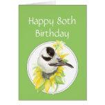 80.o pájaro del girasol del Chickadee del cumpleañ Tarjeton