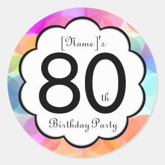 80.o Pegatina de la fiesta de cumpleaños