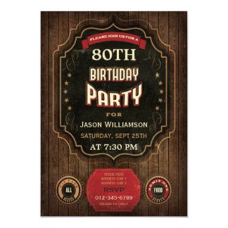 80.o Pizarra y madera del vintage del cumpleaños Invitación 12,7 X 17,8 Cm
