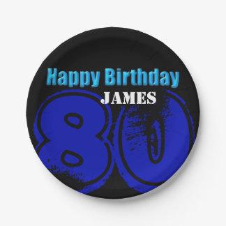 80.o placas de papel personalizadas cumpleaños plato de papel de 7 pulgadas