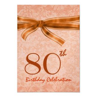 """80.o Plantilla anaranjada del damasco de la fiesta Invitación 5"""" X 7"""""""
