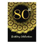 80.o Plantilla de la guirnalda del girasol del oro Invitación 12,7 X 17,8 Cm