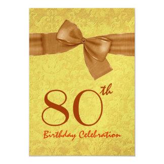 """80.o Plantilla del arco del damasco del oro de la Invitación 5"""" X 7"""""""