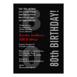 80.o Plantilla roja blanca del negro moderno del c Invitacion Personalizada