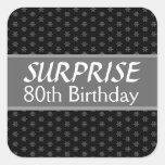 80.o Rojo de la plata del negro del cumpleaños de Calcomania Cuadradas Personalizadas