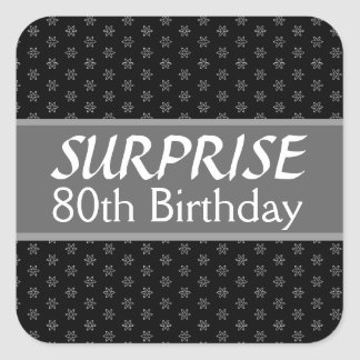 80 o Rojo de la plata del negro del cumpleaños de Calcomanía Cuadradas Personalizadas