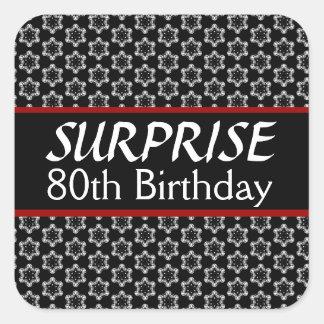 80.o Rojo de la plata del negro del cumpleaños de Pegatina Cuadrada