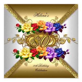 """80.o Rosas del oro del multicolor de la fiesta de Invitación 5.25"""" X 5.25"""""""