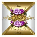 80.o Rosas púrpuras elegantes 3 del oro de la Anuncios Personalizados