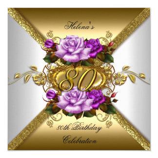 """80.o Rosas púrpuras elegantes 3 del oro de la Invitación 5.25"""" X 5.25"""""""