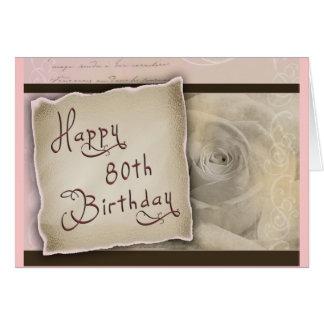 80.o saludo pasado de moda del cumpleaños tarjeta de felicitación