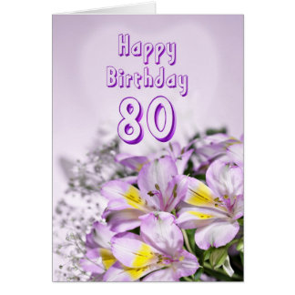 80 o Tarjeta de cumpleaños con las flores del liri