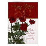 80.o Tarjeta de cumpleaños con los rosas