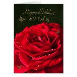 80.o Tarjeta de cumpleaños con un rosa rojo clásic