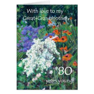 80.o Tarjeta de cumpleaños para la bisabuela -