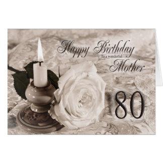 80.o Tarjeta de cumpleaños para la madre, la vela