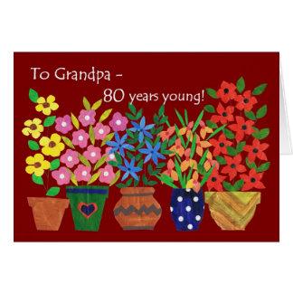 80.o Tarjeta de cumpleaños para un abuelo, flower