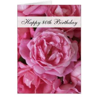 80.o Tarjeta de cumpleaños - rosas por 80 años