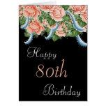 80.o Tarjeta del feliz cumpleaños de los rosas del