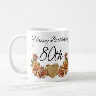 80.o Taza del regalo de cumpleaños, con los rosas