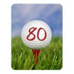 """80.o Tema del golf de la fiesta de cumpleaños Invitación 4.25"""" X 5.5"""""""
